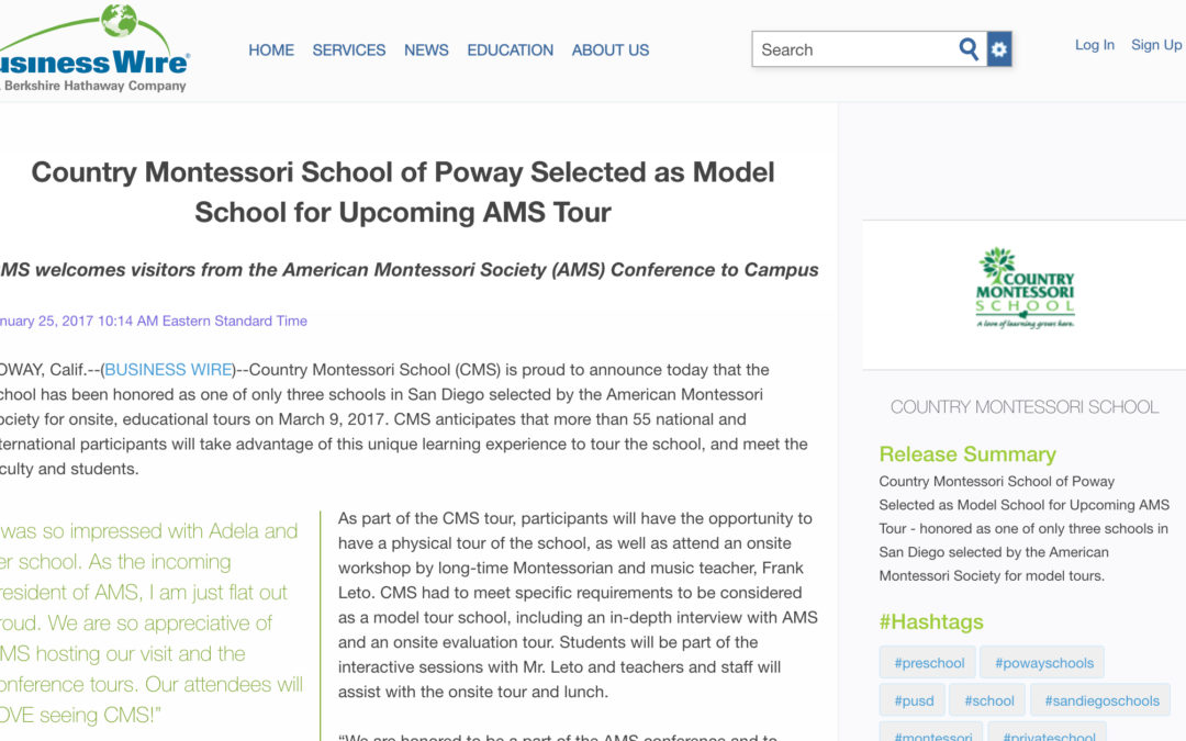 Country Montessori School of Poway Selected as Model School for Upcoming AMS Tour